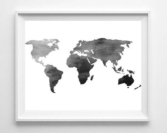 Printable World Map Print, Watercolor Black White Wall Art, Minimalist Poster, Scandinavian Wall Decor, Monochrome, Instant Download Map Art  This