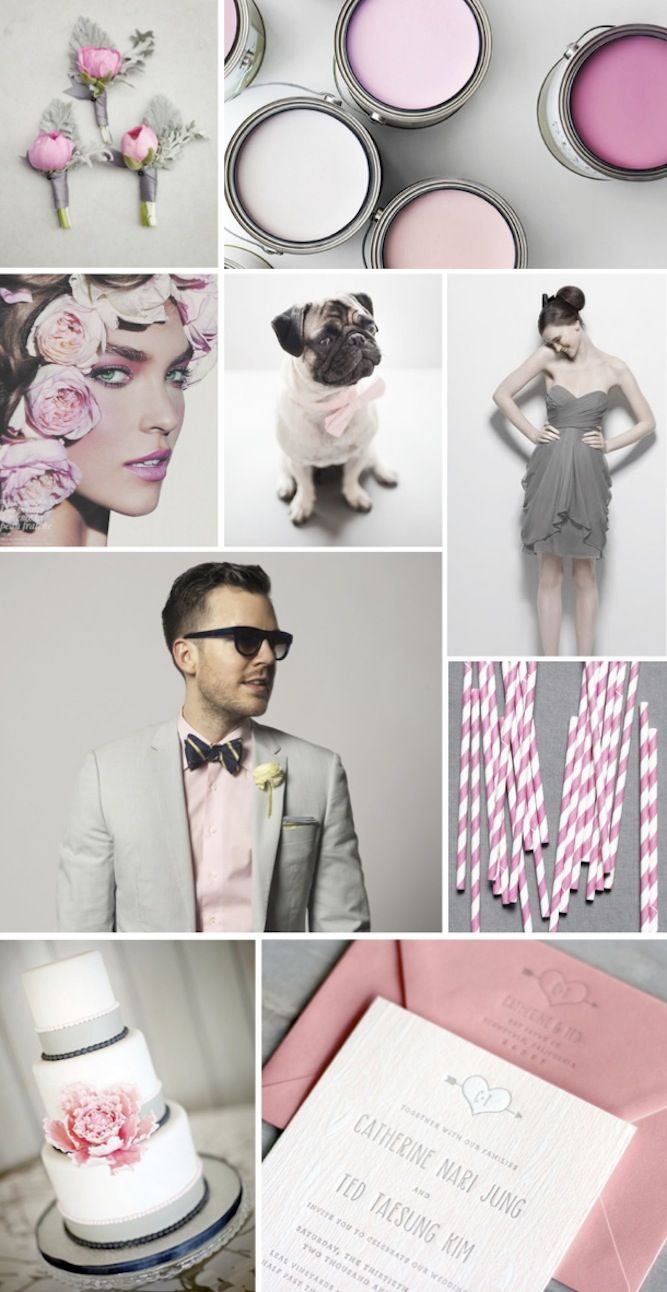 Grey and pink wedding inspiration and ideas su.pr/1L68Ij Dont like the bridesmaids dreads though