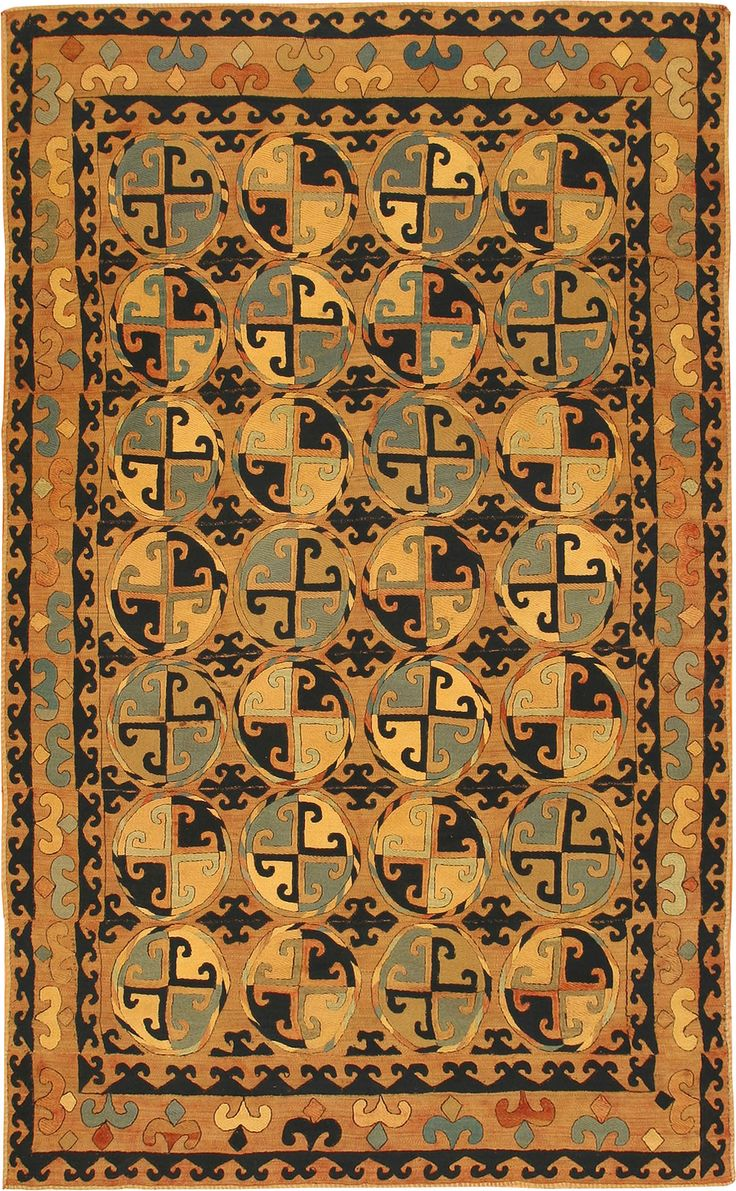 Antique Uzbek Emboidered Rug Central Asia Early 20th
