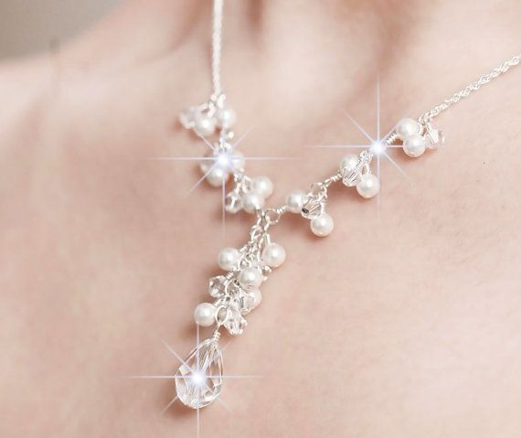 Bridal Necklace, Bridal Jewelry, Pearl and Crystal Bridal Y Necklace, Bridal Jewellery on Etsy, $85.23 CAD