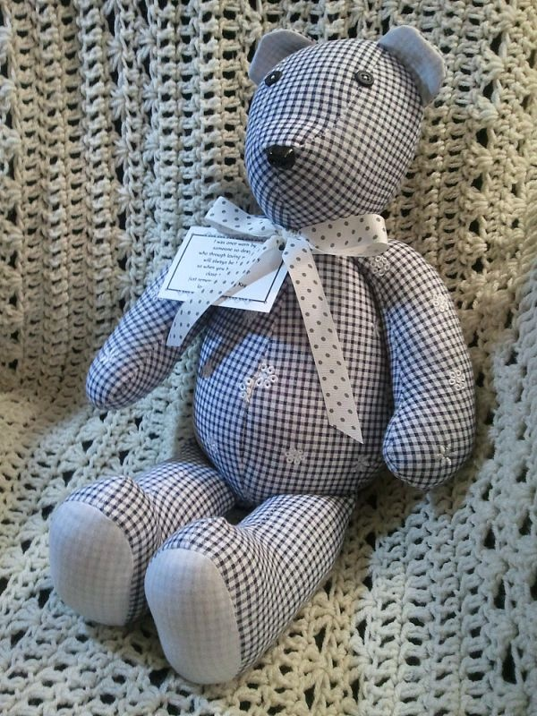 Facebook: Creative Crafts by Dawn    A Memory Bear is a custom, handmade bear made from a fabric special to you.     The fabric could be:  Baby clothes of a child now grown  Clothes of a loved one who has passed  Clothes worn on a special occasion  Clothes of a son or daughter on a mission  Uniforms from a baseball, soccer or other sports team  ******************************