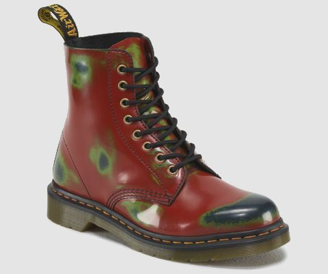 dr martens red lace up boots with green blue worn effect. Black Bedroom Furniture Sets. Home Design Ideas