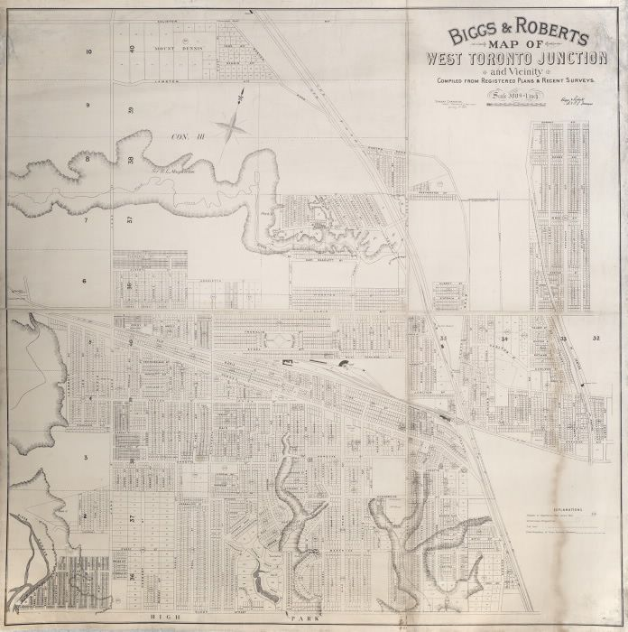 Biggs & Roberts map of West Toronto Junction and vicinity compiled from registered plans & recent surveys, 1890