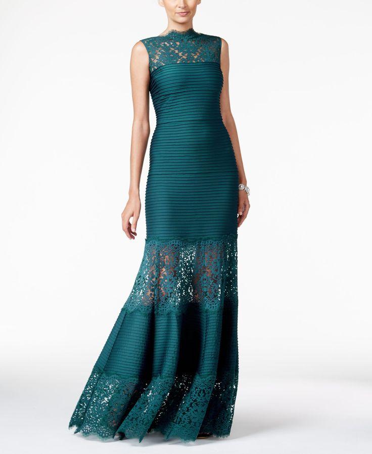 Tadashi Shoji Lace-Inset Evening Gown