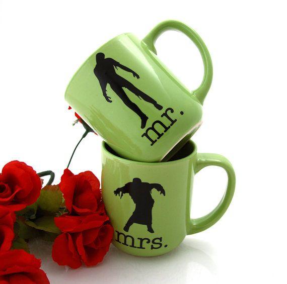 Mr and Mrs. zombie mug set wedding gift zombie by LennyMud on Etsy