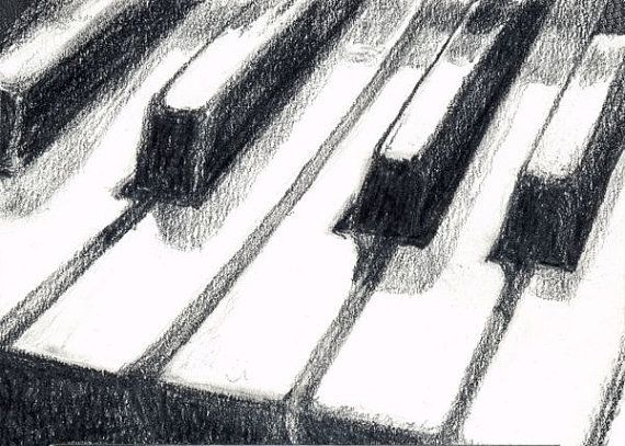 Piano Keyboard Art Print of Graphite Pencil by SaylorWolfWorks, $4.75