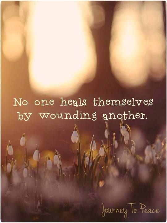 No one heals themselves by wounding another.