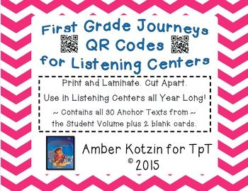 This bundle contains all 30 audio stories for the  2014 1st Grade Journeys: Units 1, 2, 3, 4, 5, and 6. Great for listening centers! This includes 8 pages of story cards (4 cards per page), which contains 2 blank cards to add your own. Simply laminate, hole punch, and place on a ring.