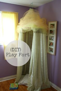 "DIY Girlie fort made from a hula hoop and old curtains.  -This could totally be a ""reading nook"" too! :)  LOVE it! Great for play room"