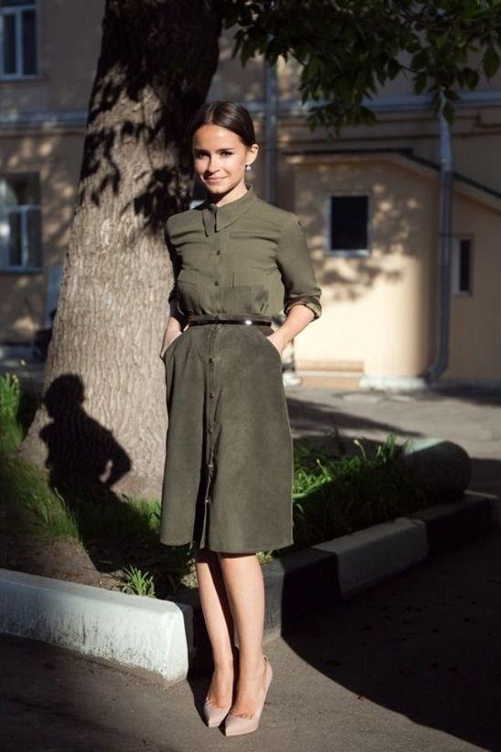 Miroslava Duma in khaki shirt & suede skirt #StreetStyle: