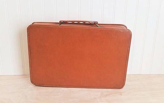 Vintage Small Briefcase With Zipper Brown Briefcase Vinyl