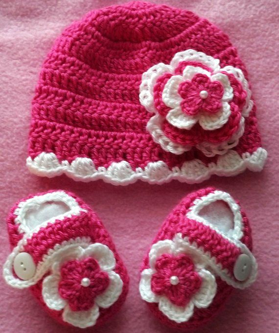 Hot pink and white crochet set