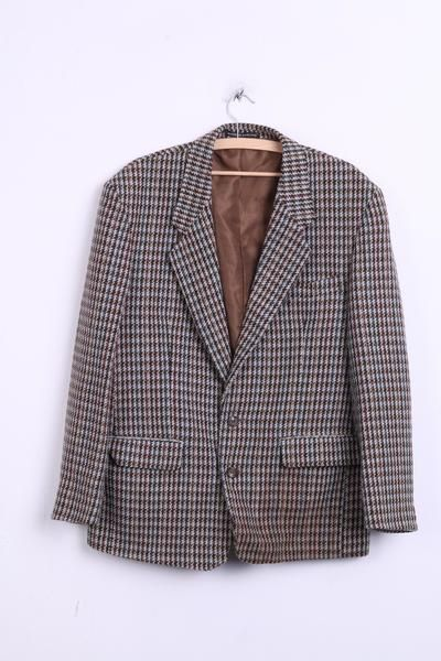 SAXON HAWK Mens 42 XL Blazer Jacket Houndstooth Beige Wool Vintage - RetrospectClothes