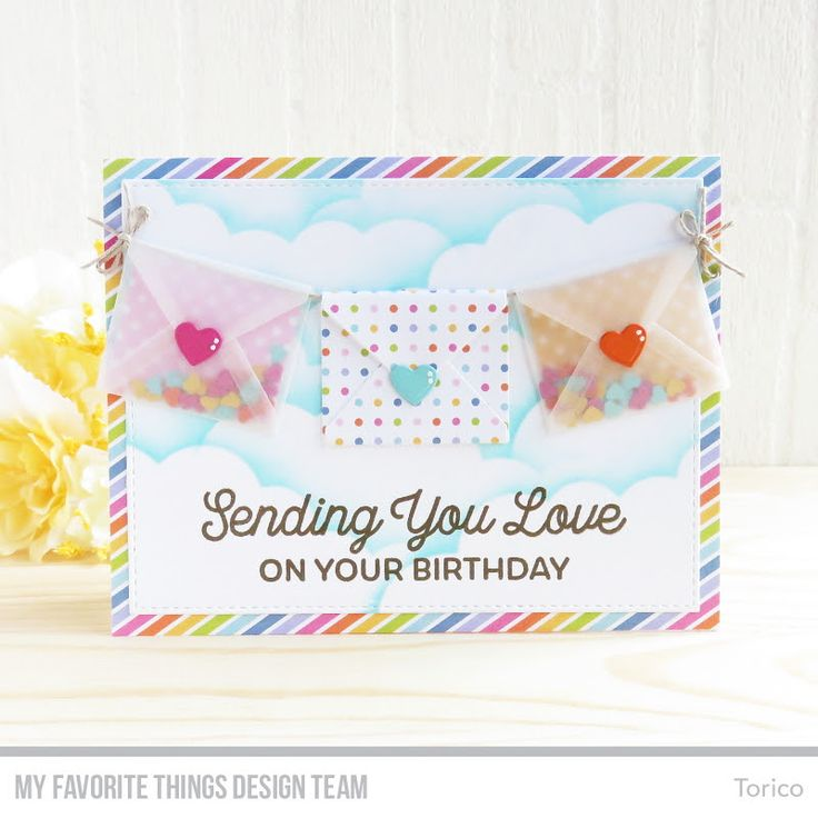Sending Birthday Wishes Card Kit, Blueprints 24 Die-namics, Cloud Stencil - Torico  #mftstamps