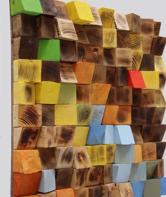 Wall Art Wood wood wall art, woodburning reclaimed wood mosaic, geometric art