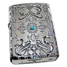 Zippo Lighter Armor Lofty Cross 5 Sides Etching SV Turquoise from Japan New