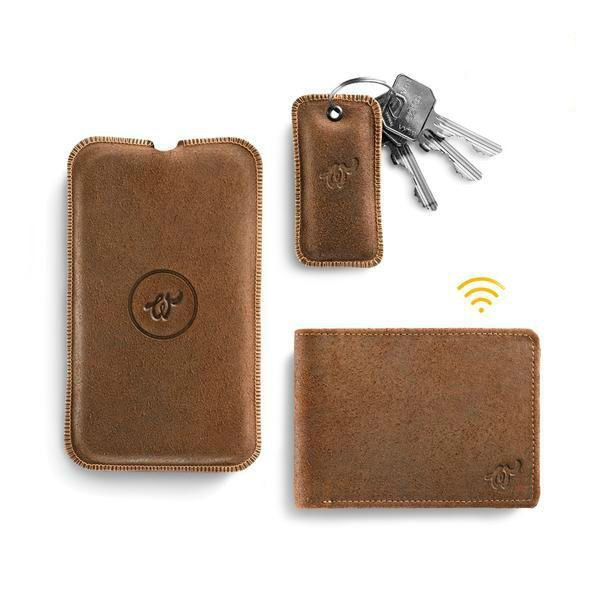 Brown Woolet with matching Charging Pad and Key Finder