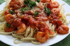 Shrimp Marinara and Linguini
