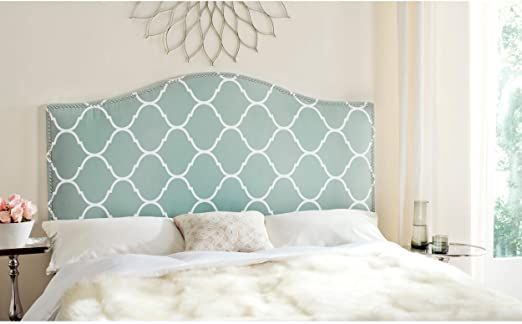 Moroccan Pattern Headboard Silver Nailhead Full Blue Bohemian Eclectic Modern Contemporary Fabric In 2020 Upholstered Headboard Upholstered Panels Headboard