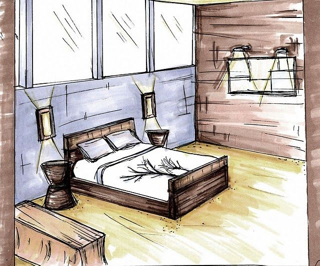 Interior Design Bedroom Sketches bedroom quick sketch & rendering | designcaley | pinterest