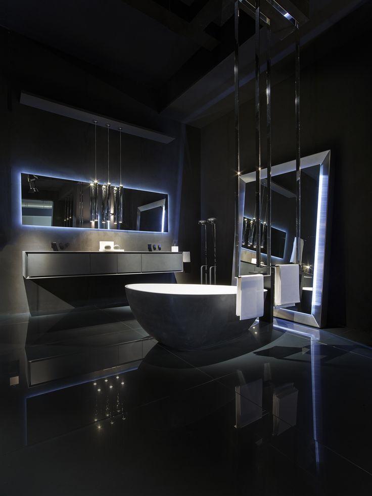 Black Bathroom Ideas - furniture in concrete black. LED mirror. Cristalplant bathtub covered with black cement.