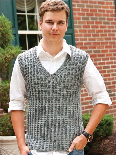 "Knit a versatile V-neck pullover for him in a masculine geometric stitch pattern. This e-pattern was originally published in the November 2010 issue of Creative Knitting magazine. Size: Includes men's small through 2X-large. Made with medium (worsted) weight yarn and size 8 (5mm) straight and 16"" circular needles. Skill Level: Intermediate"