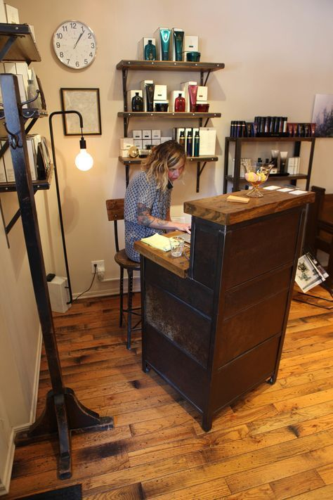 Custom Salon Furniture Made By Brooklyn Reclamation For Little Axe Wall Shelving Bookcase And Reception Desk Of Reclaimed Material