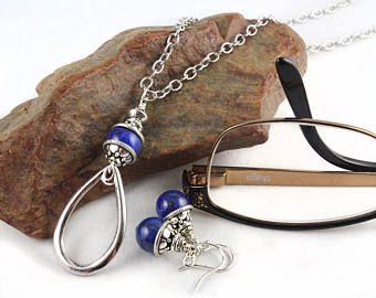 Pendientes de piedras preciosas, sostenedor de la lente, collar de la lente, lente lazo, cordón, cadena de gafas, collar de la lente, conjunto de