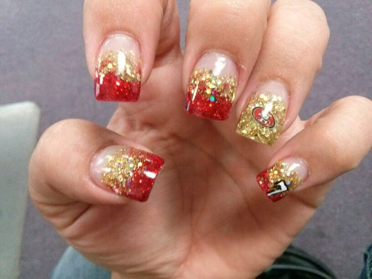 Red and gold acrylic nails 49ers x3cb x3enails x3c b x3e on pinterest