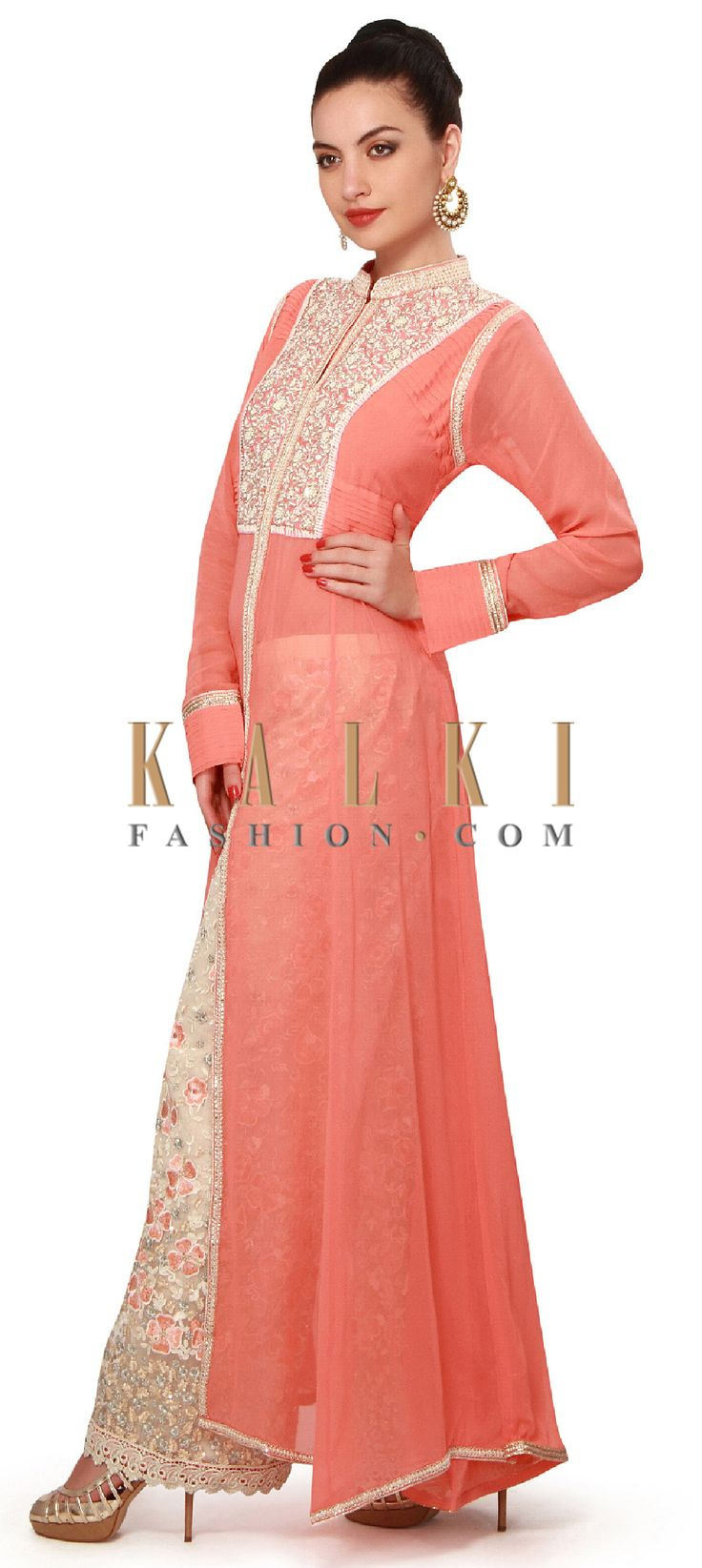 Buy Online from the link below. We ship worldwide (Free Shipping over US$100). Product SKU - 317475. Product Price - $199.00. Product Link - http://www.kalkifashion.com/peach-suit-features-with-embroidered-pants-only-on-kalki.html