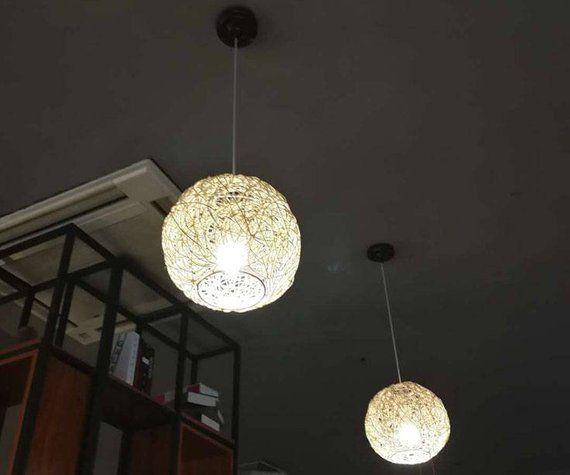 Natural Rattan Sphere Pendant Lights Ball Lamp Shade Hanging Lamp