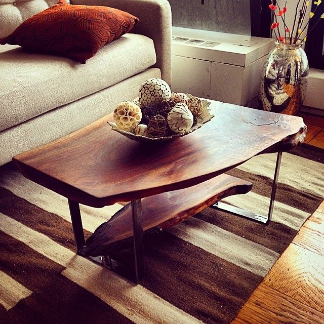 Live edge black walnut coffee table with reclaimed walnut shelf and custom welded steel legs. #woodworking #interiordesign