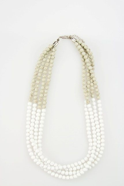 Stylish wooden bead necklace in crisp white and grey