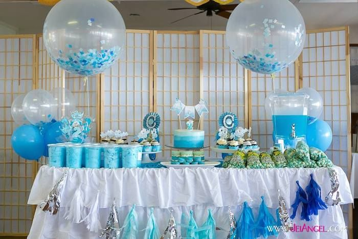 Blue Ombre second birthday party Full of Really Cute Ideas via Kara's Party Ideas KarasPartyIdeas.com Printables, Cakes, Recipes, Invitaions...