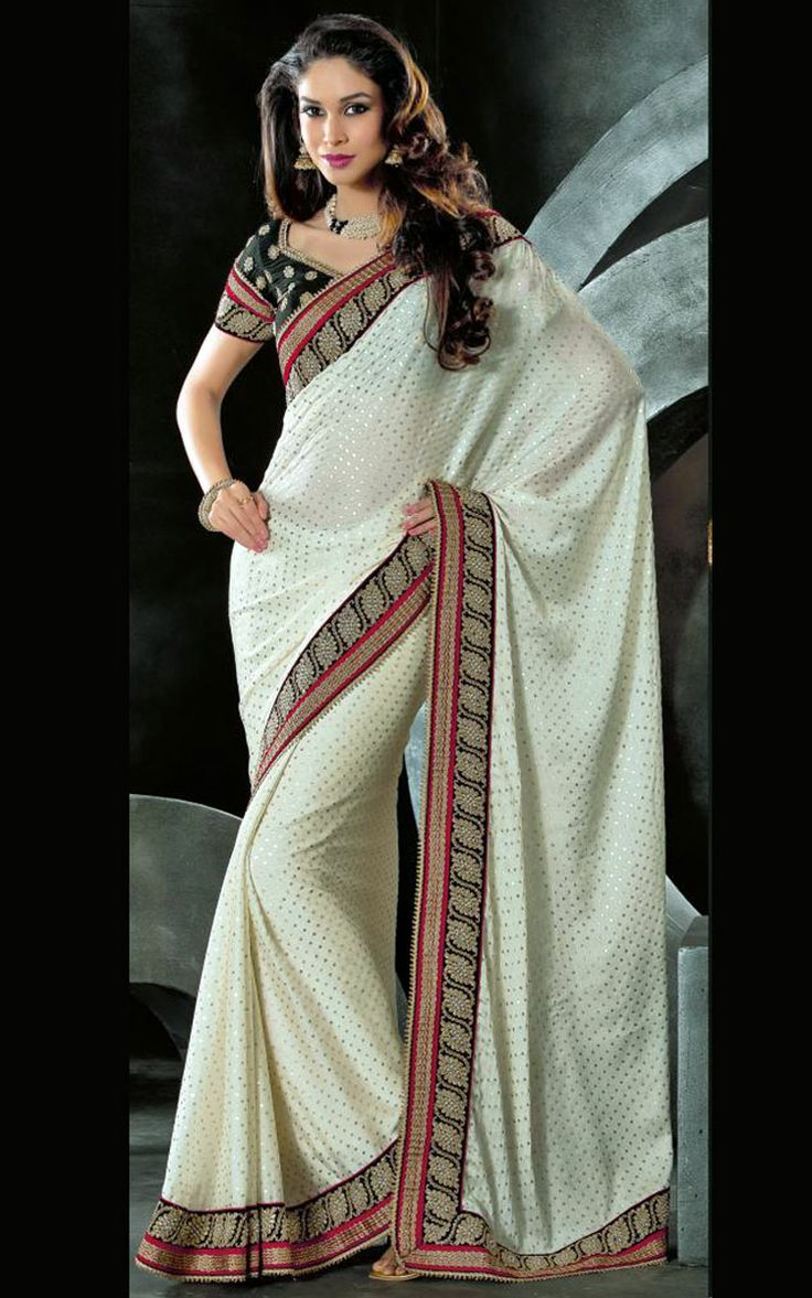 OFF WHITE CHIFFON LATEST SAREE - VAL 5325