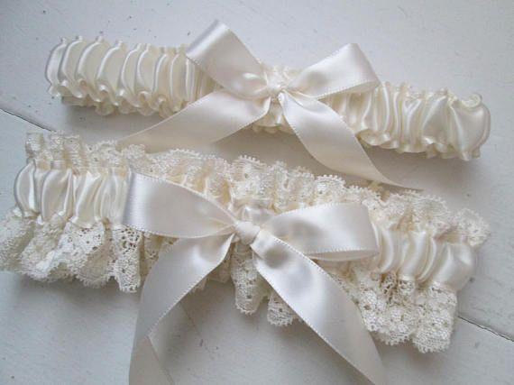 Ivory Wedding Garter Set Lace Bridal Cream