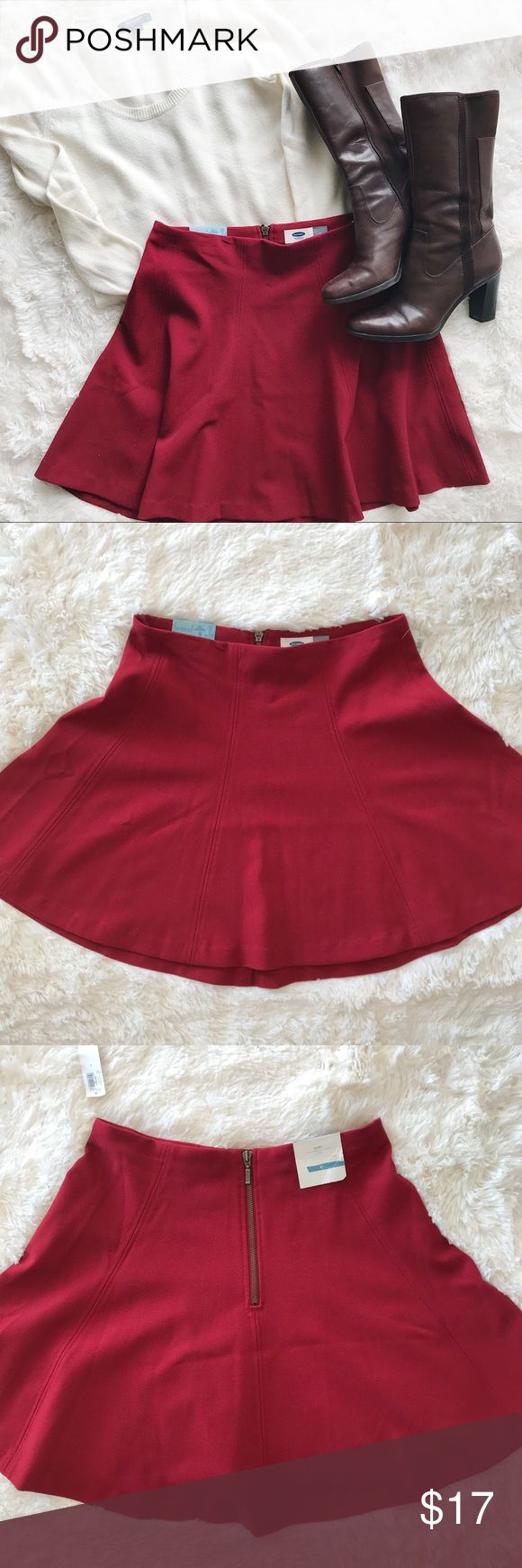"""NWT Old Navy red skater skirt NWT Old Navy red skater skirt Size 4 exposed back zip Measurements flat:   Waist 14.5""""   Length 17"""" Old Navy Skirts"""