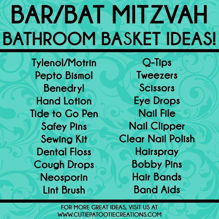 Bathroom Basket Ideas for Bar and Bat Mitzvahs, Bathroom Essentials, Emergency Basket