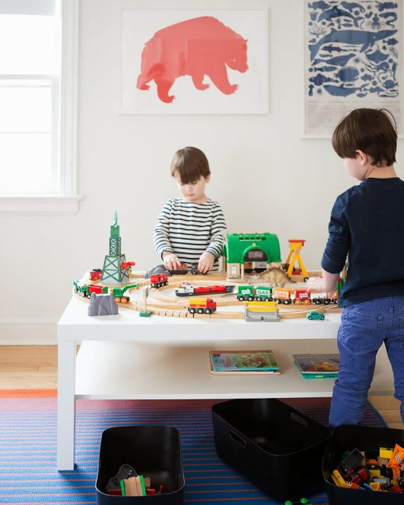 A CUP OF JO: New Jersey house tour Ikea Lack coffee table as kids play table