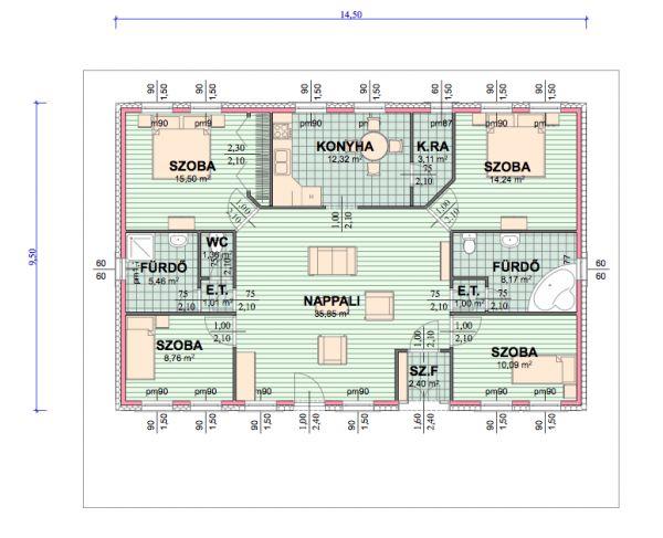 Kp.hu optimum 138nm-es családi ház típusterv alaprajza