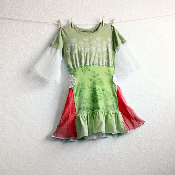 Lime Green Women's Top Bohemian Clothing Upcycled Clothes Coral Lace Bell Sleeves Retro Shirt Recycled Tunic