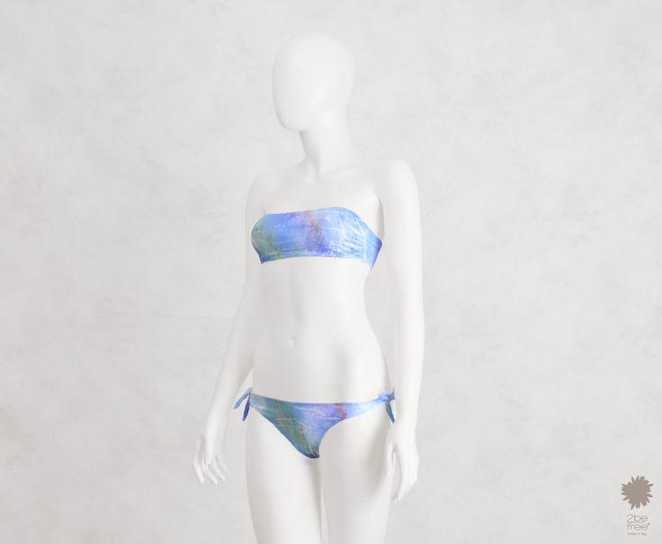 LIMITED EDITION Miami Fun Aqua Bikini Beachwear -  Bandeau bikini top in microfiber double, bikini bottom with bows
