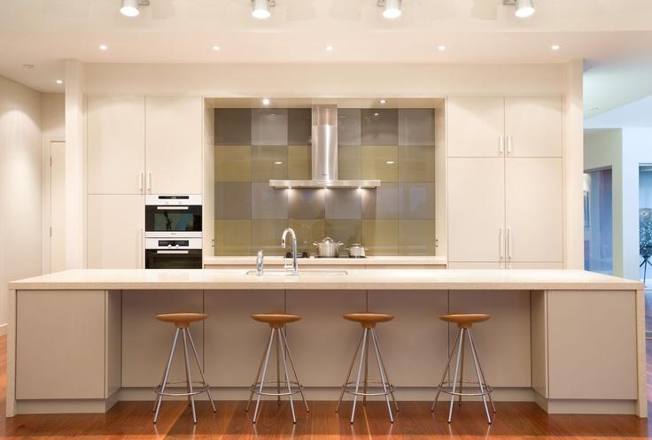 White, some tiles, wood, breakfast table - Dan Kitchens Australia