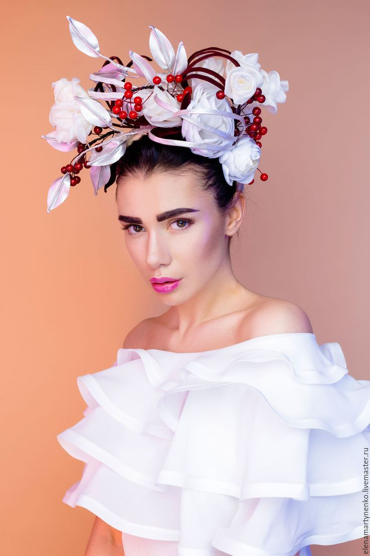 """Купить Обруч-венок """"Аша"""" - комбинированный, белый, айвори, серебристый, головной убор, венок из цветов"""