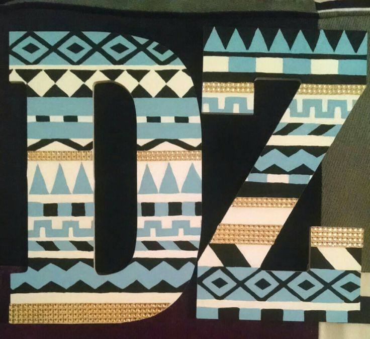 Delta Zeta painted wooden letters! Never go wrong with tribal print :)