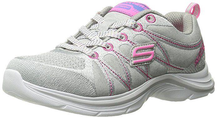 Skechers Kids Swift Kicks Training Shoe (Little Kid/Big Kid), Gray/Neon Pink, 3.5 M US Big Kid