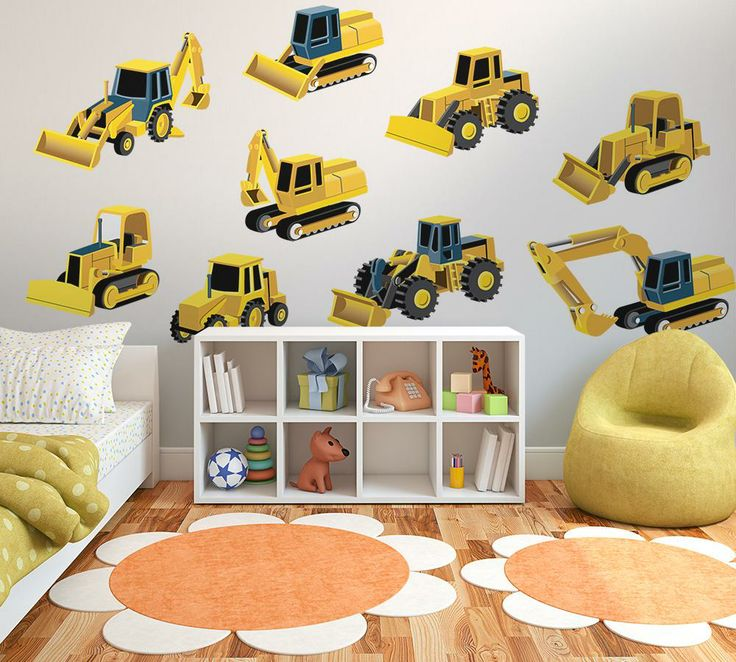 Construction vehicle wall decal sticker set wall decals for Construction site wall mural