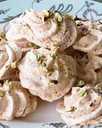 Coconut-Pistachio Meringues: Delicate and substantial at the same time, Nick Malgieri's pistachio-topped coconut meringues are chewy on the inside and crisp on the outside. For the best results, bake them on a dry day: Humidity can make meringues disappointingly soft.