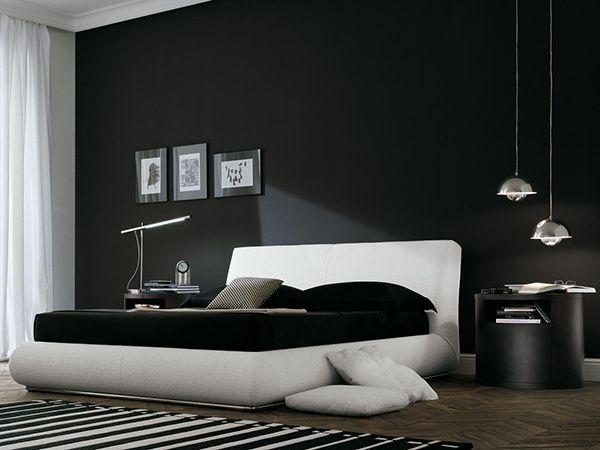 большая спальня в темных тонах фото