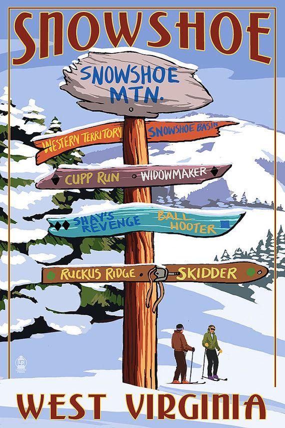 Snowshoe West Virginia  Destination Signpost by NightingaleArtwork